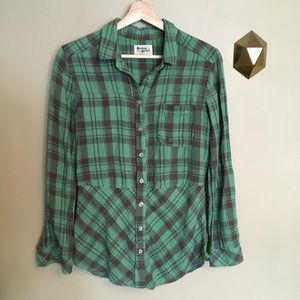 Holding Horses Plaid Tunic Top Green Anthropologie